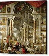 Gallery With Views Of Modern Rome Canvas Print by Panini
