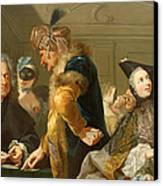 Gamblers In The Foyer Canvas Print by Johann Heinrich Tischbein
