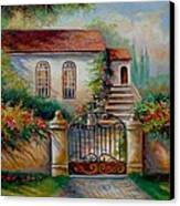 Garden Scene With Villa And Gate Canvas Print by Gina Femrite