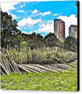 Garden With Bamboo Garden Fence In Battery Park In New York City-ny Canvas Print by Ruth Hager