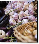 Garlic At The Market Canvas Print by Heather Applegate