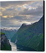 Geirangerfjord Sunset Canvas Print by Benjamin Reed