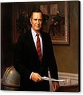 George Hw Bush Presidential Portrait Canvas Print by War Is Hell Store