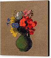 Geraniums And Flowers Of The Field Canvas Print by Odilon Redon