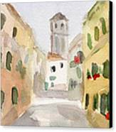 Geraniums Cannaregio Watercolor Painting Of Venice Italy Canvas Print by Beverly Brown Prints