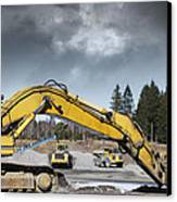 Giant Bulldozers In Action Canvas Print by Christian Lagereek