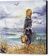 Girl And The Ocean Canvas Print by Irina Sztukowski