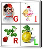 Girl Art Alphabet For Kids Room Canvas Print by Irina Sztukowski