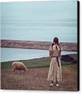 Girl With A Sheep Canvas Print by Joana Kruse