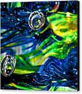 Glass Macro - Seahawks Blue And Green -13e4 Canvas Print by David Patterson
