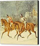 Going Out In A Snowstorm Canvas Print by Henry Thomas Alken