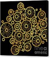 Golden Circles Black Canvas Print by Frank Tschakert