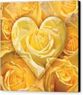 Golden Heart Of Roses Canvas Print by Alixandra Mullins