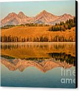 Golden Mountains  Reflection Canvas Print by Robert Bales
