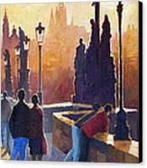 Golden Prague Charles Bridge Canvas Print by Yuriy Shevchuk