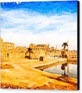 Golden Ruins Of Karnak Canvas Print by Mark E Tisdale