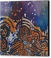 Graceful Wild Orchids In Blue/orange Canvas Print by Beena Samuel