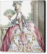 Grand Robe A La Francais, Engraved Canvas Print by Claude Louis Desrais