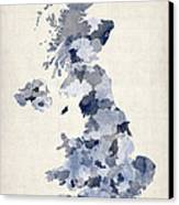 Great Britain Uk Watercolor Map Canvas Print by Michael Tompsett