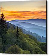 Great Smoky Mountains National Park - Morning Haze At Oconaluftee Canvas Print by Dave Allen