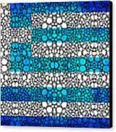 Greek Flag - Greece Stone Rock'd Art By Sharon Cummings Canvas Print by Sharon Cummings