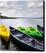 Green And Yellow Kayaks Canvas Print by Carlos Caetano