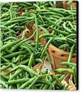 Green Beans In Baskets At Farmers Market Canvas Print by Teri Virbickis