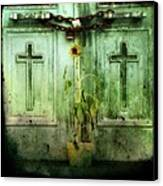 Green Doors Canvas Print by Gothicolors Donna