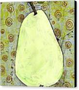 Green Pear Art With Swirls Canvas Print by Blenda Studio