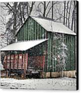 Green Tobacco Barn Canvas Print by Benanne Stiens