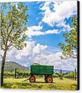 Green Wagon And Vineyard Canvas Print by Jess Kraft