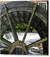 Grist Mill Wheel With Spillway Canvas Print by Thomas Woolworth