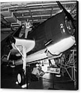 Grumman Eastern Aircraft Tbm 3e Tbm3e Avenger On The Hangar Deck At The Intrepid Air Space Museum Canvas Print by Joe Fox