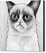 Grumpy Cat Portrait Canvas Print by Olga Shvartsur