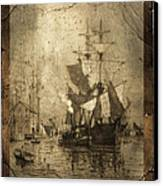 Grungy Historic Seaport Schooner Canvas Print by John Stephens