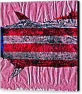 Gyotaku - American Spanish Mackerel - Flag Canvas Print by Jeffrey Canha