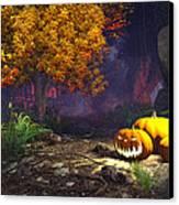 Halloween Pumpkins Canvas Print by Marina Likholat