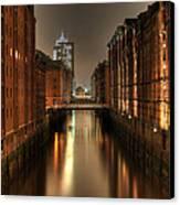 Hamburg Speicherstadt Bei Nacht Canvas Print by George Inness