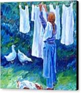 Hanging The Whites  Canvas Print by Trudi Doyle