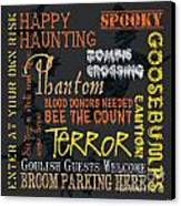 Happy Haunting Canvas Print by Debbie DeWitt