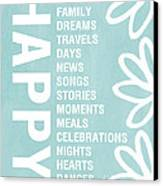 Happy Things Blue Canvas Print by Linda Woods