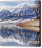 Hardy Fishermen Deer Creek Reservoir And Timpanogos In Winter Canvas Print by Gary Whitton
