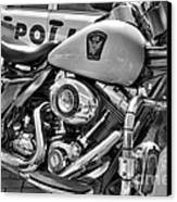 Harleys In Cincinnati 2 Bw Canvas Print by Mel Steinhauer