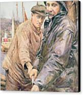 Hauling In The Net Canvas Print by Henry Meynell Rheam