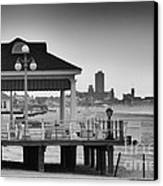 Hdr Beach Boardwalk Photos Pictures Art Sea Ocean Photograph Scenic Landscape Black White Canvas Print by Pictures HDR
