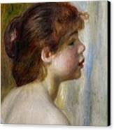 Head Of A Young Woman Canvas Print by Pierre Auguste Renoir