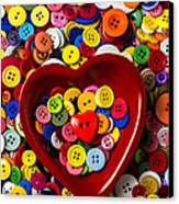Heart Bowl With Buttons Canvas Print by Garry Gay