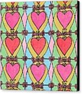 Hearts A'la Stained Glass Canvas Print by Mag Pringle Gire