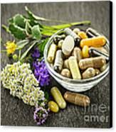 Herbal Medicine And Herbs Canvas Print by Elena Elisseeva