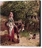 Home From Market Canvas Print by Edgar Bundy